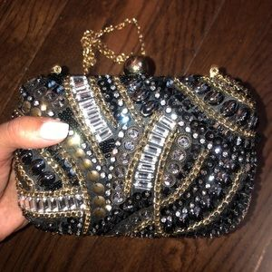 Fancy beaded clutch with chain